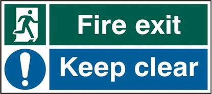 Picture of FIRE EXIT KEEP CLEAR RPVC(PK5) 450MM X 200MM