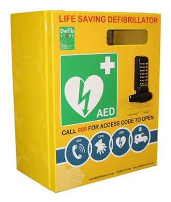 Picture of DEFIBRILLATOR STAINLESS STEEL CABINET WITH LOCK & ELECTRICS
